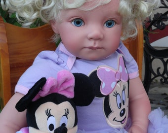 """Lightly Reborn Child Friendly 22"""" Toddler girl Doll """"Emily"""" w. Minnie Mouse"""