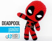 Deadpool Crochet Pattern - Instant Download - Amigurumi Plush Doll