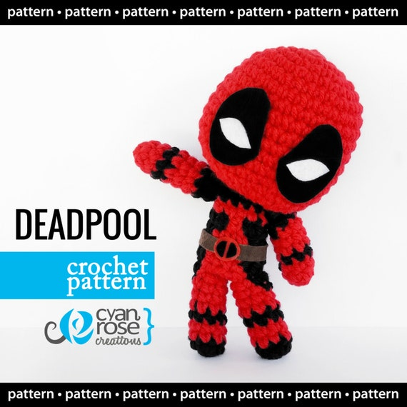 Crochet Wedding Dress Pattern Doll : Deadpool Crochet Pattern Instant Download Amigurumi Plush