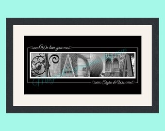 Grandma Customized Walt Disney World Alphabet Photography Letter Art Print 10 by 20