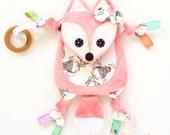 Mini Fox Baby Lovey Binkie Blankie Blanket Teething Toy Clip Friend