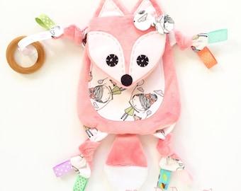 Mini fox baby lovey nursery blanket teething toy clip friend