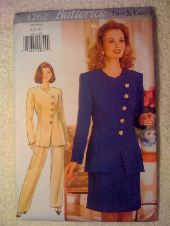 Butterick 4262 Sewing Pattern 90s UNCUT Fast and Easy Misses Jacket, Skirt and Pants Size 6-8-10