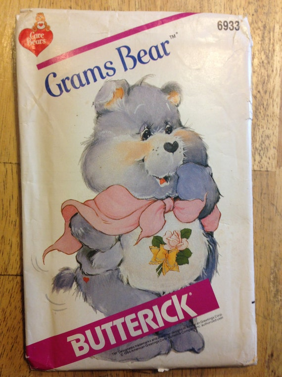 Butterick 6933 Sewing Pattern 80s Uncut Stuffed Toy Care Bears Grams Bear