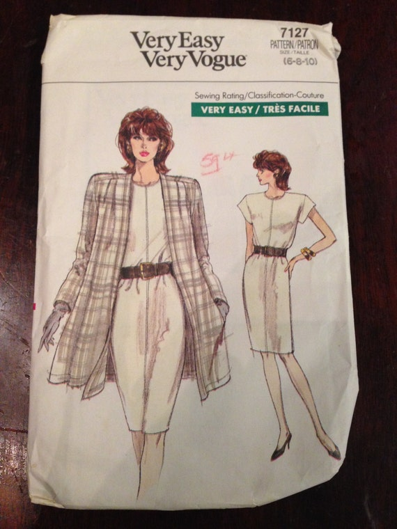 Very Easy Very Vogue 7127 Sewing Pattern 80s Uncut Misses and Misses Petite Jacket and Dress Size 6-8-10