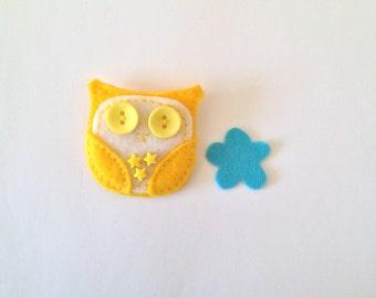 Felt Owl Brooch - Owl Brooch - Felt Brooch - Starry Owl
