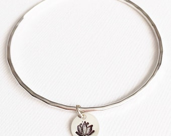 Bangle Haley - Lotus charm bangle - handstamped bangle - yoga jewelry (B274)