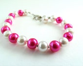 Pretty in Pink Fuscia and White Faux Pearl Valentine/ Bridesmaid Lobster Clasp Bracelet