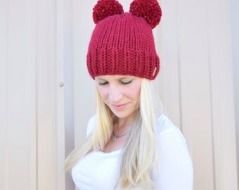 Double Pom Pom Knitted Hat, Children's Knitted Hat, Baby Hat, Double Pom Pom Baby Hat, Adult Double Pom Hat|| The Molly with Double Pom Poms