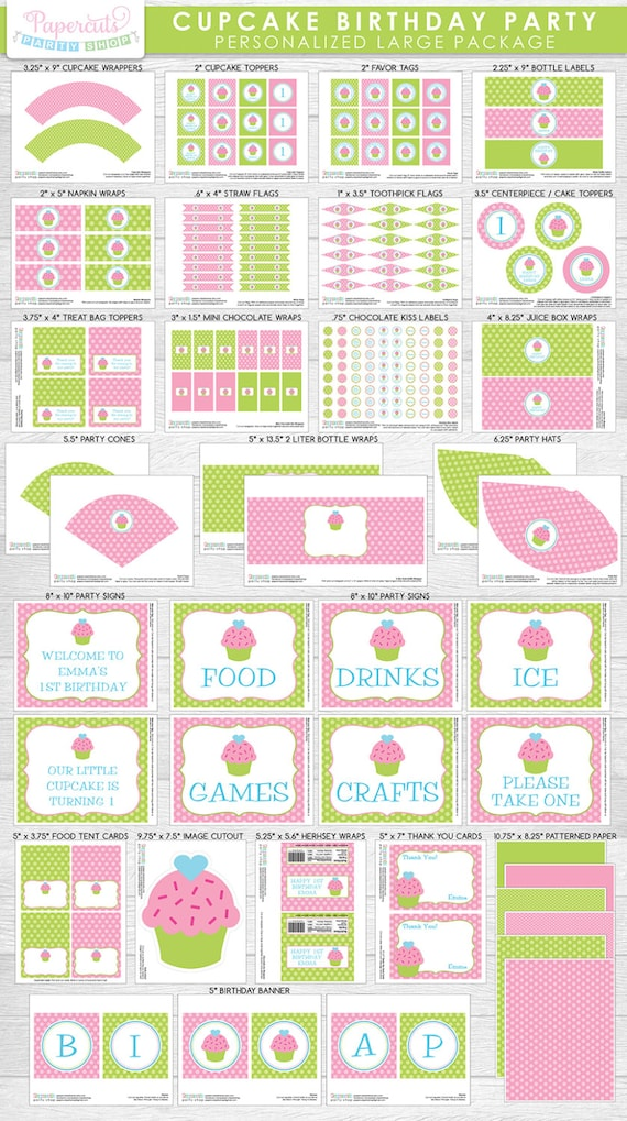 Cupcake Theme LARGE Happy Birthday Party Package   Green & Pink   Personalized   Printable DIY Digital Files