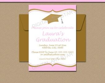 Pink Gold Graduation Invitation Template - Girl Graduation Party Invitations Instant Download - Printable 2018 Graduation Invitations G6