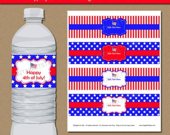 4th of July Water Bottle Labels - July 4th Decor - Independence Day Water Labels Patriotic Decor Military Decor Fourth of July Party Ideas