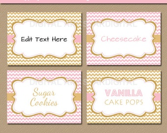 Printable Pink and Gold Candy Buffet Labels - Baby Shower Tent Cards - EDITABLE Pink and Gold Chevron Food Labels Candy Station Labels LPGC