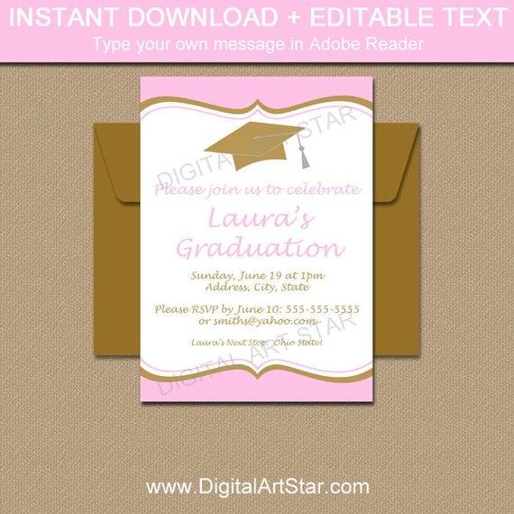 Pink gold graduation invitation template girl graduation party il570xn stopboris Gallery