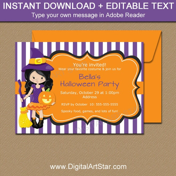 Halloween Party Invitations Printable Purple Witch Halloween
