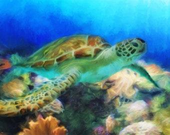 Sea Turtle Canvas, Turtle Art, Sea Turtle Painting, Seascape, Art Print, Beach Decor, Ocean Art, Corals, Underwater, Sea