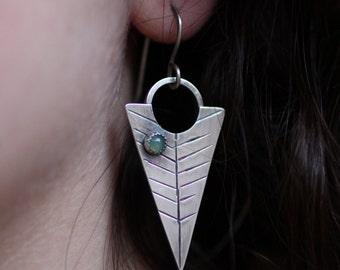 Silver Leaf Earrings, Statement Earrings, Silver Dangles, Feather Earrings, Arrow Earring, Chrysoprase Earrings