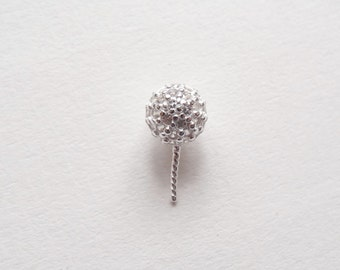 925 Sterling Silver CZ Cubic Zirconia Ball Bail with corkscrew peg for half drilled drop or pearl One Piece K5396