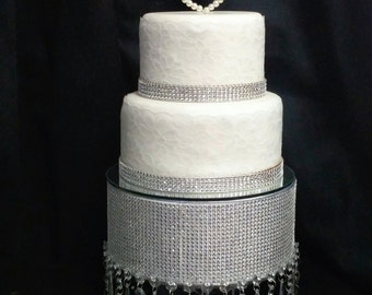 Crystal Droplet Diamante Rhinestone Floating cake stand with Mirror top