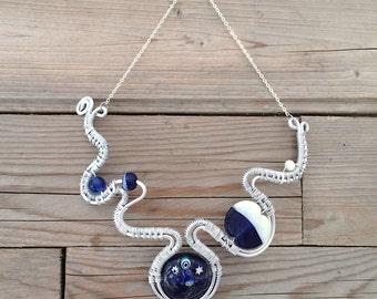 big handblown blue glass necklace