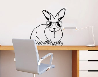 Rabbit, Vinyl Wall Decal, Bunny Sticker, Home And Office Decoration, Baby Room Decor, Woodland Animals, Rabbit With Glasses - ID07 [p]