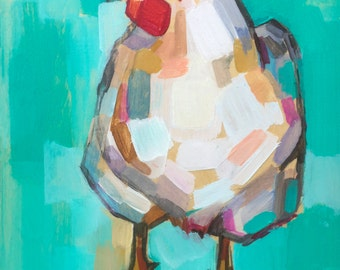 Hen, fine art print of original oil painting