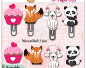 Sale 40% DIY Cute Animal Paperclips,  Printable Clipart, Panda, Poodle, Fox and Cupcake for Planners, Bible Journaling & Praise Book