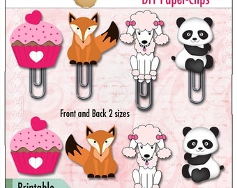 DIY Cute Animal Paperclips,  Printable Clipart, Panda, Poodle, Fox and Cupcake for Planners, Bible Journaling & Praise Book