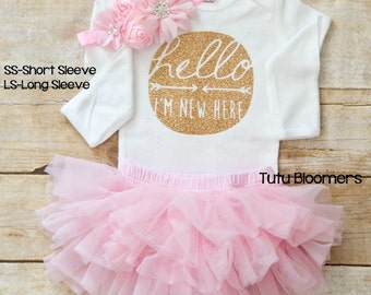 hello I'm new here tutu outfit, newborn photo outfit girl, baby girl coming home outfit, newborn girl coming home outfit, take home, infant