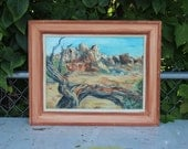 Gertrude Bussell Oil Painting Desert Landscape Pines Lookout Framed on Board 12 x 16