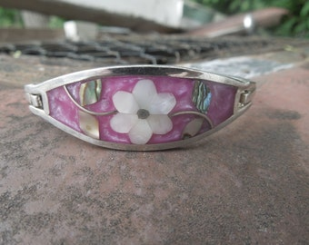 Vintage Mexico Mexican Hinged Bangle Bracelet Hot Pink with Inlaid Abalone Flowers Mexico Alpaca