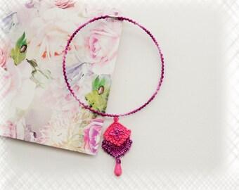 Crochet Choker - Crochet Necklace - Pink Purple Necklace - Beaded Necklace - Pendant Necklace