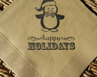 Light Burlap Baby Penguin Happy Holidays Christmas Napkins in Black ink - Set of 50