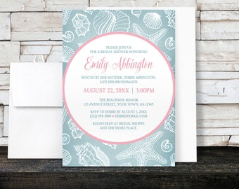 Beach Bridal Shower Invitations - Blue Seashell design with Pink - Printed Invitations
