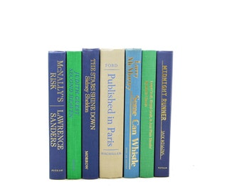 Green Blue BOoks, Decorative Books, Wedding  Decor, Book Decoration, Book Lover, Wedding Centerpiece, book Set, Home Decor, Book Collection