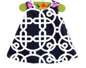 Modern Geometric Pattern Aline Dress -  Medium Weight - Photo Prop - Girls Fashion - Party - Peasant Top - Summer Dress - 0-3M to 4T
