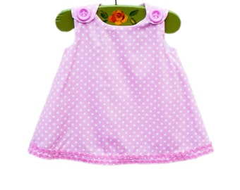 Last One - Pink Polka Dots Alines - Baby Girls Dress - March Break - Toddler Cotton - Photo Session - Dress Sewing Pattern - Only One 12M