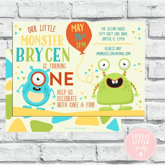 Monster Theme Birthday Invitation Printable or Printable Option