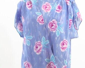 Clearance Vintage 1980's Secretary Dress - Purple floral Semi Sheer day dress - Size Medium