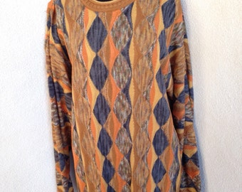 Vintage mens Tundra 3D sweater in fall colors sz L
