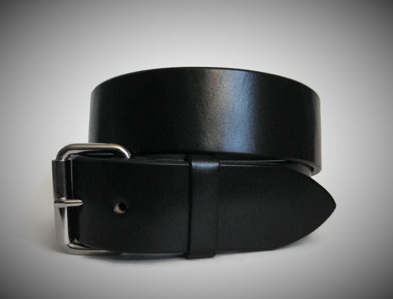 mens black leather belt heavy duty leather by angelleathershop