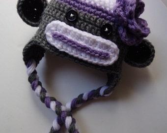 Ready to Ship Newborn Crochet Sock Monkey Hat, Knit hat, Monkey Hat, Photo Prop, Flower, baby boy, baby girl