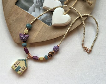 Handmade pendant necklace, ceramic house necklace, boho necklace,  UK seller