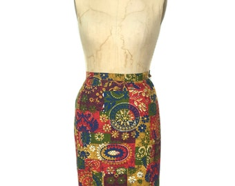 vintage 1960s patchwork pencil skirt / cotton / rainbow colorful / novelty print skirt / women's vintage skirt / size small