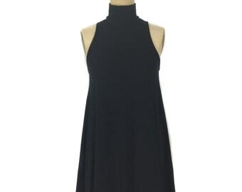 vintage 1990s DKNY turtleneck tent dress / black / wool blend / Donna Karan / mini dress / women's vintage dress / tag size 8