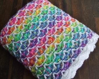Rainbow Shell Afghan - Crochet Throw Blanket