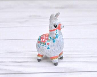 Silver Alpaca Miniature Figurine, Animal Sculpture, Animal Totem