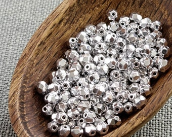 Silver Czech Fire Polished Beads 4mm (50) Opaque Round Glass Small Polish Faceted Metallic Gray