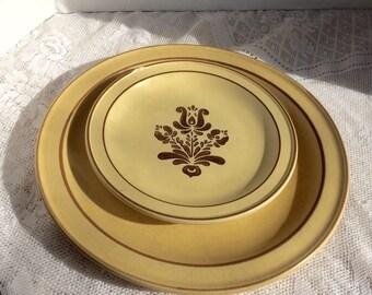 Pottery Plates Vintage Village Pfaltzgraff Dessert Plate and Dinner Plate