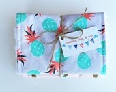 Pineapple Mix Baby Burp Cloths Coral Auqa Gray Boutique Quality Burpees Free Shipping Ready to Ship Trendy Newborn Shower Burp Set of 2